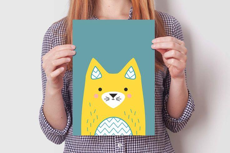 CAT print set #cute #kitty #illustratiin #design #wallart #kidroom #decoration #nursery