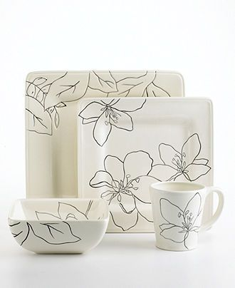 Laurie Gates Dinnerware, Anna Square 4 Piece Place Setting, White - Casual  Dinnerware -