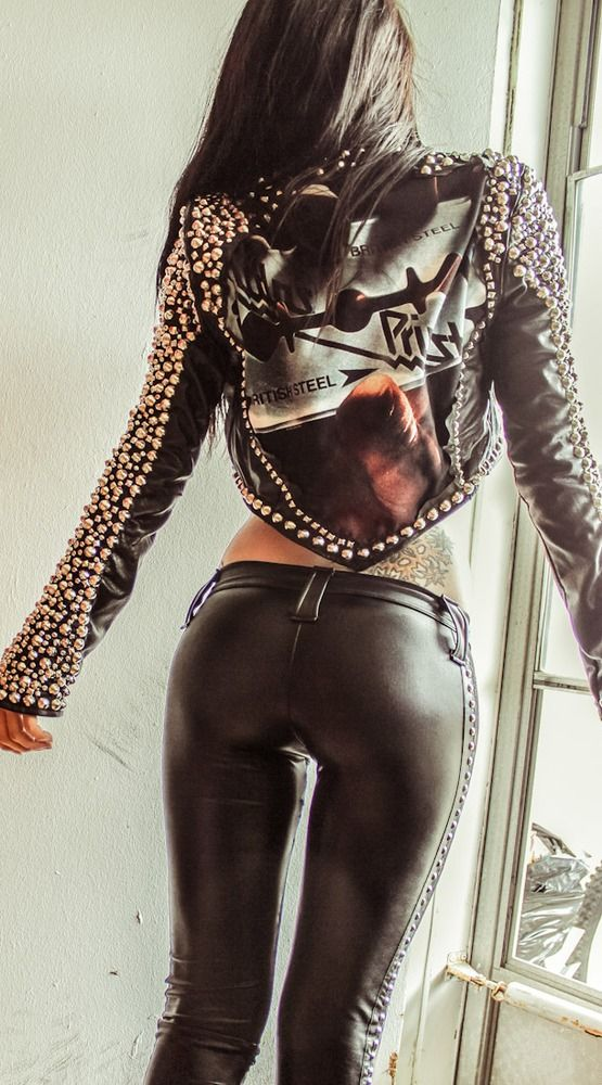 Image of TOXIC VISION Judas Priest studded biker jacket. oh and badass pants. def want!