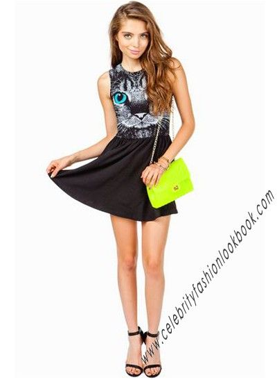Cat Face Vest Dress http://celebrityfashionlookbook.com/dp33-cat-face-vest-dress.html #fashion #fashionista #girl #teens
