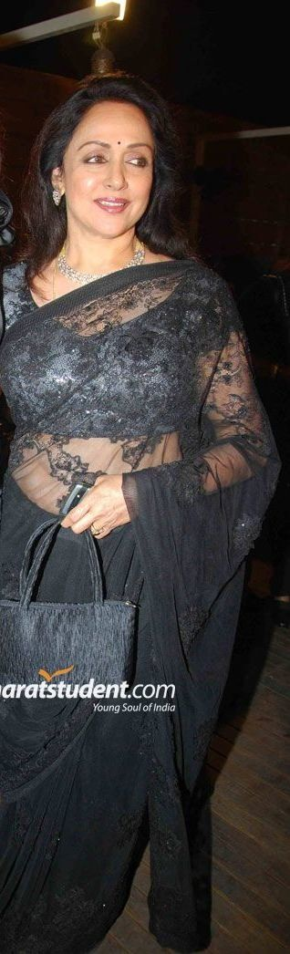 Hema Malini hot in Transparent Black Saree