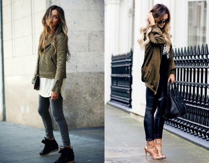 veste courte hiver femme kaki