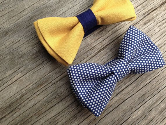 Mustard bow tie  mustard bowtie  navy bow tie  yellow and