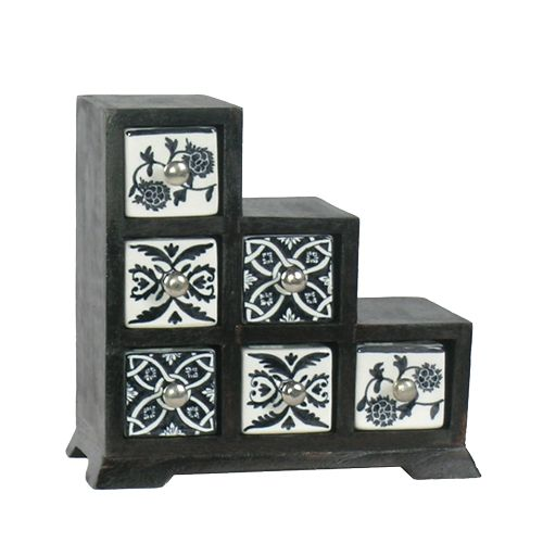 Beautiful hand-painted drawer unit. http://definestyle.net.au/shop/drawerstrinket-boxes-small-drawer-unit/