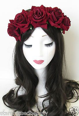 Deep Red Rose Flower Headband Hair Crown Festival Boho Garland Vtg Burgundy N06 in Clothes, Shoes & Accessories, Women's Accessories, Hair Accessories | eBay