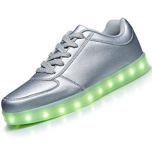 Silber Leuchtende Schuhe Nubuk Herren