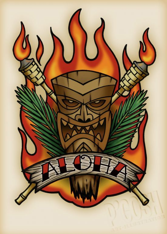 Aloha Tiki Tattoo Flash by P'Gosh