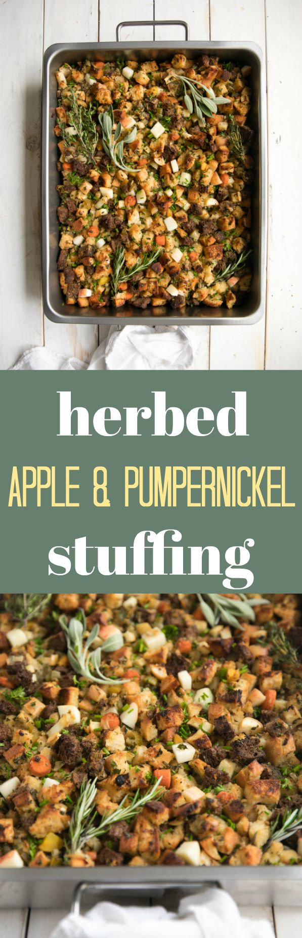 Herbed Apple and Pumpernickel Stuffing #vegetarian #thanksgiving #healthy #sidedish #recipe #holiday #pumpernickel #sourdough