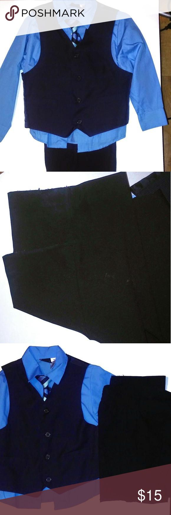 🎉Editor's Pick🎉💙4 Piece Navy Blue boys suit💙 Navy Blue. baby blue shirt. slacks have a few spots near bottom of slacks Boutique Matching Sets