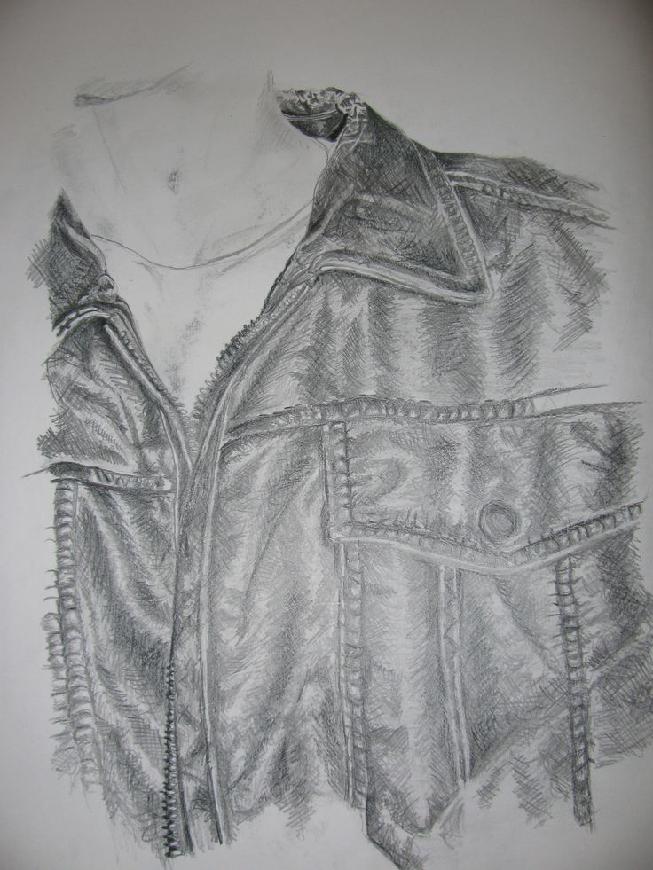 leather jacket collar and pocket pencil drawing | ARTSY ...