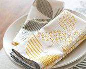 Hand Printed Cloth Napkins, Sunshine Yellow, SET of FOUR Anna Joyce Textile Collection. $36.00, via Etsy.