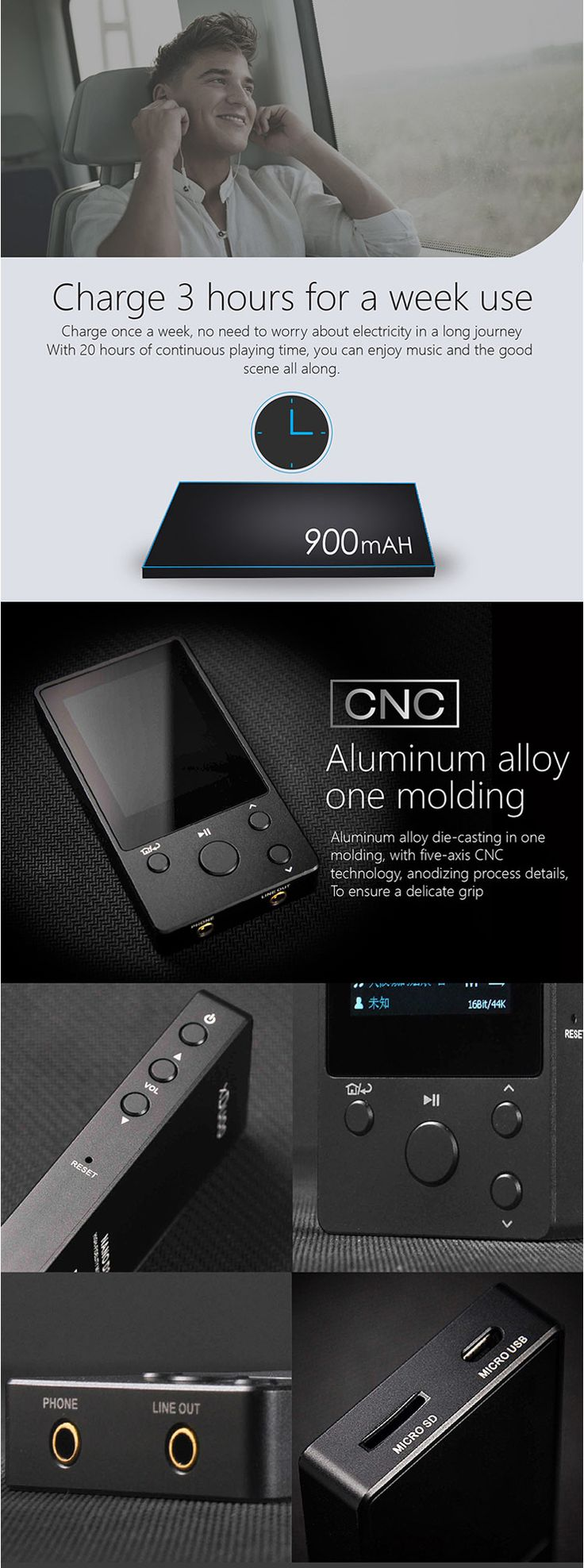 XDUOO NANO D3 8GB IPS Display 24Bit/192k DSD256 Professional HIFI Music Player Lossless MP3