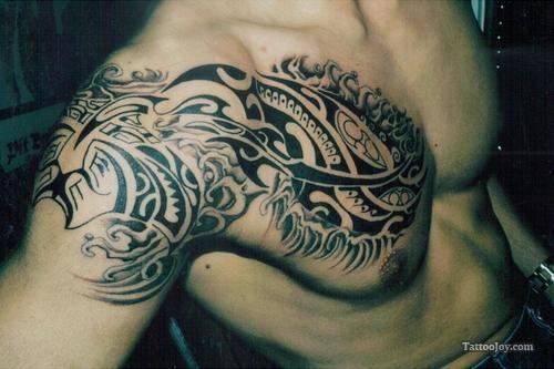 Polynesian Tribal Chest Tattoo