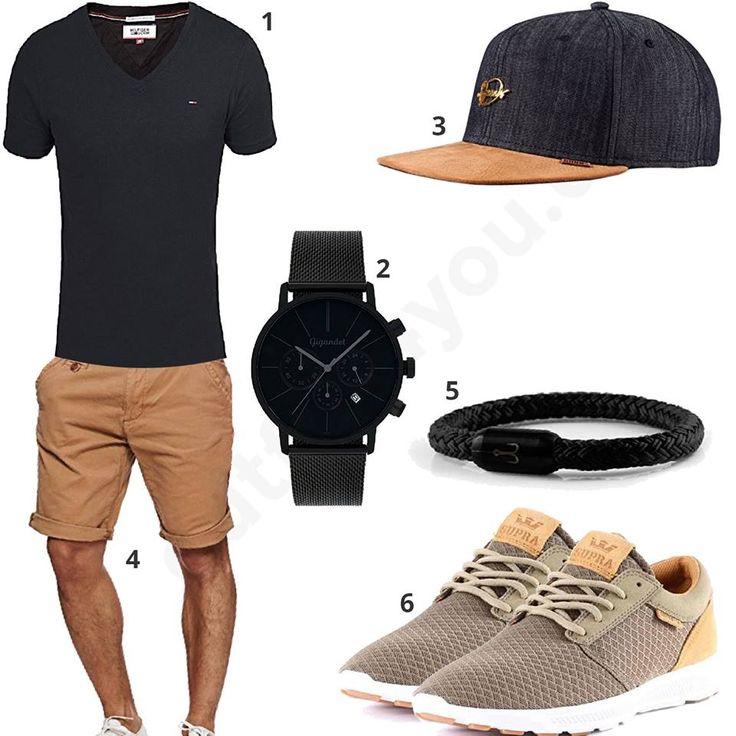 Männer-Style mit schwarzem Tommy Hilfiger Shirt, coolem Djinns Cap, Gigandet Uhr, Fischer's Fritze Armband, Indicode Shorts und Supra Schuhen. #outfit #style #fashion #menswear #mensfashion #inspiration #shirts #weste #cloth #clothing #männermode #herrenmode #shirt #mode #styling #sneaker