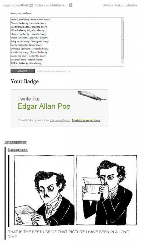 edgar allan poe on writing Edgar allan poe (january 19 1809 – october 7 1849) was an american poet,  novelist,  a few words on secret writing in graham's magazine (july 1841.