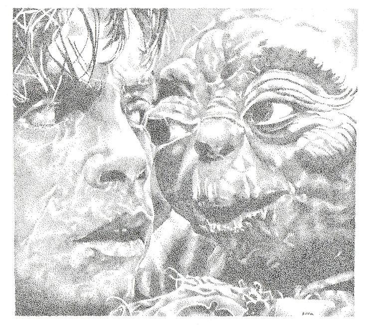 Luke and Yoda - www.sereninspired.com - pointillism