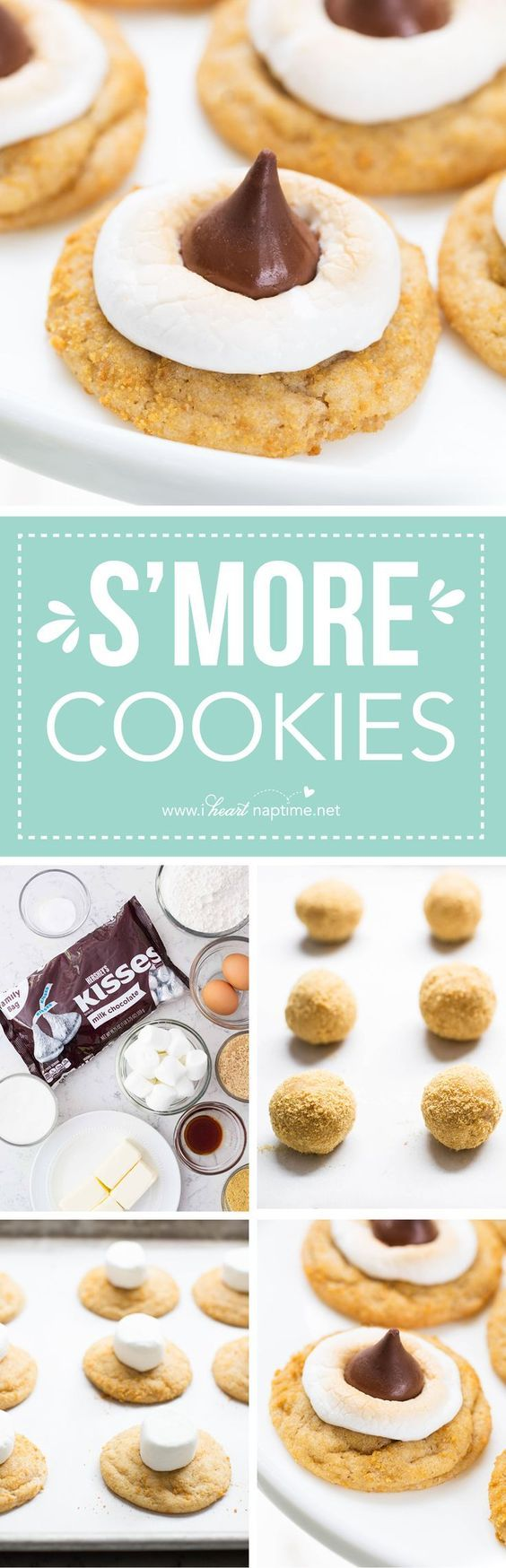 S'mores Cookies... a delicious summery treat with a buttery graham cracker dough a gooey marshmallows and a HERSHEY'S KISS chocolate on top! It is irresistible!
