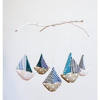 fabric boats brooch, necklace etc idea