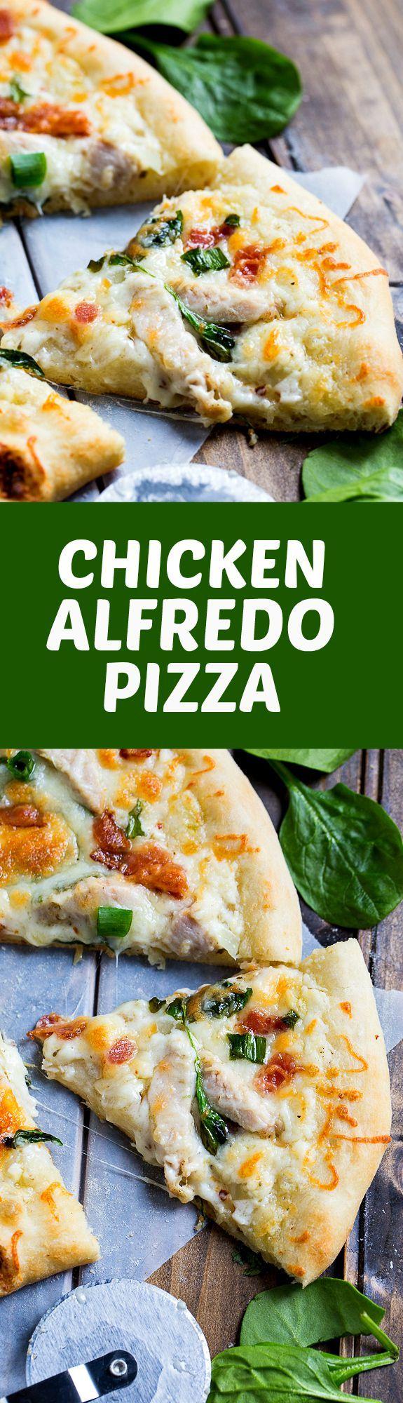 Chicken Alfredo Pizza - Garlic butter and a creamy alfredo sauce make this one delicious pizza!