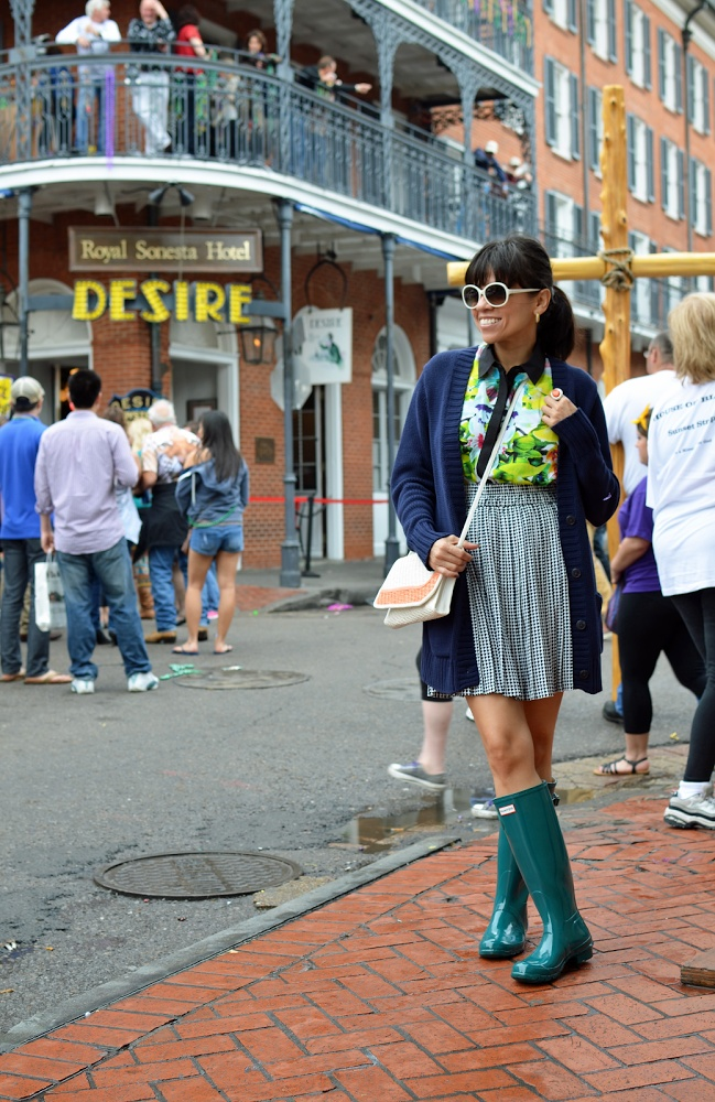 Hunter Boots and Prabal Gurung Shirt for Target in Mardi Gras.