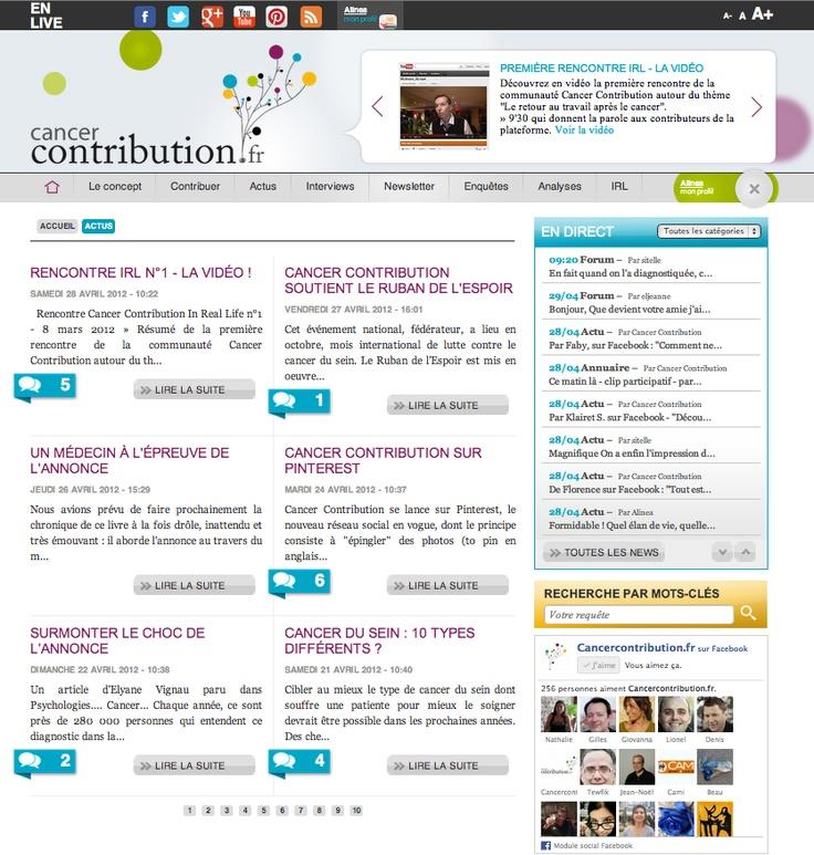 """Découvrez les """"Actus"""" de Cancer Contribution, une série d'articles, de reportages, d'information pratique sur le cancer et toute l'actualité chaude de la plateforme. Beaucoup de photos, de vidéos et d'infos à retrouver dans cette rubrique.    http://www.cancercontribution.fr/actus/itemid-7"""
