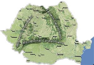 Romania Map - Carpathian Mountains