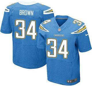 Men's NFL San Diego Chargers #34 Brown Light Blue Elite Jersey