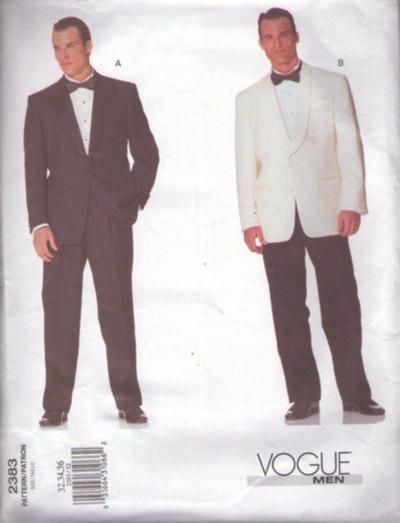 MOMSPatterns Vintage Sewing Patterns - Vogue 2383 Retro 2001 Sewing Pattern DAPPER Men's James Bond Don Draper Style Shawl Collar Tuxedo, Dinner Jacket, Coat, Trousers, Pants Wedding or Prom Size 32-36
