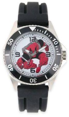 Marvel Deadpool Men's 46mm Black Bezel Honor Watch in Stainless Steel w/Black Rubber Band