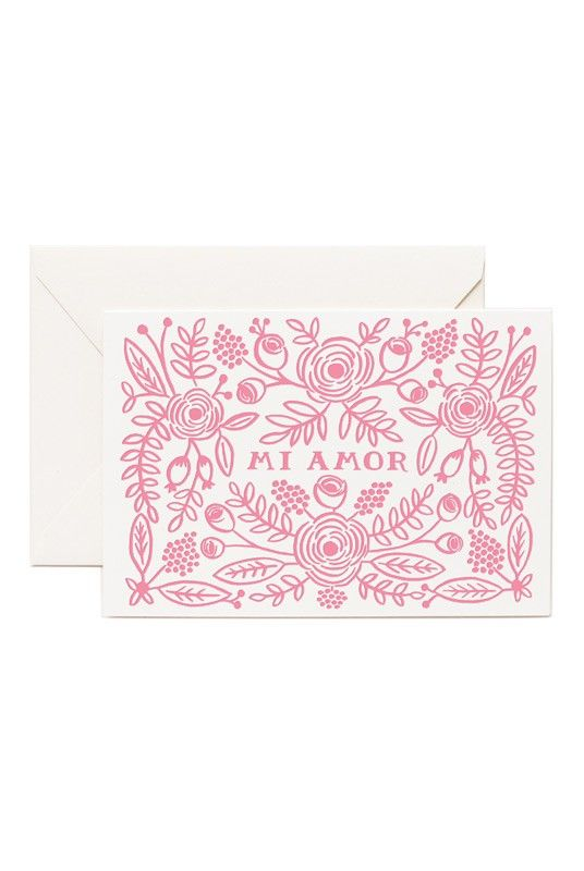 Rifle Paper Co - Card - Mi Amor  - Available from NoteMaker.com.au #Valentinesday #Valentines #Valentinecards