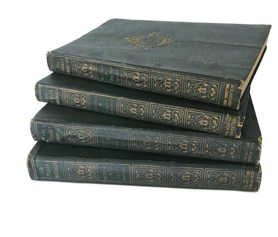 Vintage 1903 Book Set Pocket University Early 1900s Green