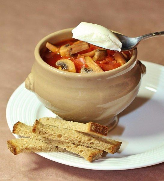 Diet Vegetables Soupe With Mushrooms Recipe
