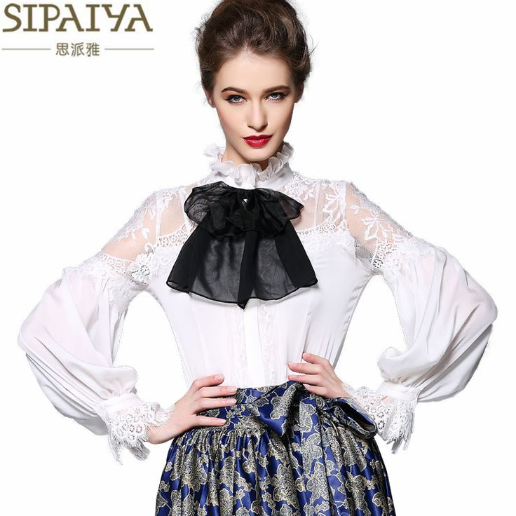 SIPAIYA Spring Runway Designer Silk Blouse Womens High Quality Lantern Sleeve Stand Collar Lace Hollow out Office Ladies Shirt