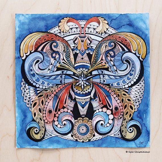 Mandala Butterfly Mixed Media Illustration Giclée Print, watercolor, ink, illustration, bohemian, folk, nature, botanical, organic, art print, by Egle Stripeikiene