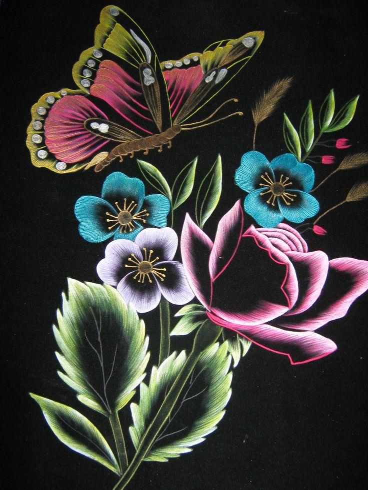 M s de 1000 im genes sobre flores en relieve en pinterest - Pintura en tela motivos navidenos ...