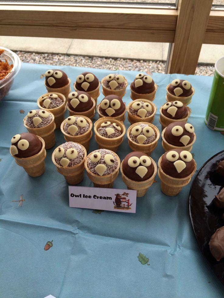 Owl ice cream for Gruffalo party