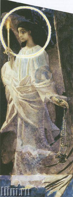 Врубель Михаил Александрович. Ангел с кадилом и свечой. Акварель. 1887.