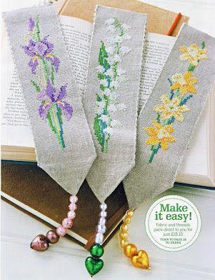 Gráfico de flores para marcadores de página em ponto cruz                                                                                                                                                     Mais