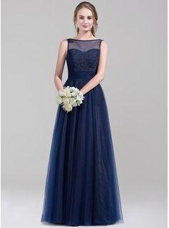Bryllupsfest Kjoler - $142.99 - A-formet/Prinsesse Scoop Hals Gulvlengde Tyll Brudepikekjole  http://www.dressfirst.no/A-Formet-Prinsesse-Scoop-Hals-Gulvlengde-Tyll-Brudepikekjole-007072815-g72815