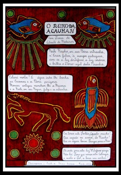 Ariano Suassuna - Iluminogravura assinada 39x56cm , O Reino de Acauham, com moldura, Para confeccionar o trabalho, Ariano produz, primeiro, uma matriz da ilustração e do texto manuscrito, com nanquim preto sobre papel branco.Em seguida, faz cópias da matriz em uma máquina de gráfica offset;Depois, cada cópia é trabalhada manualmente: ele colore o desenho com tintas guache, óleo e aquarela, por meio do pincel.