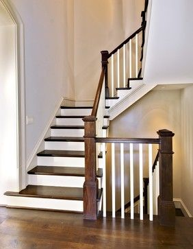 I really like this, stairs both up and down that take up as little space as possible but are still open