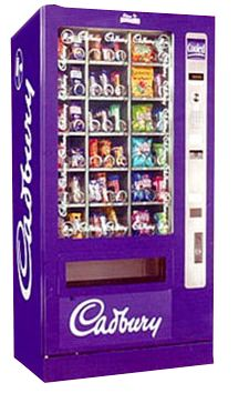Cadbury Vending Machine. One of our most popular brands is Cadburys vending machines. Since 1905 Cadburys have built a strong reputation for being one of Britain's favourite chocolate brands.