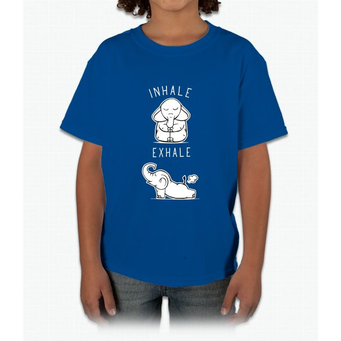 Funny Elephant Inhale Exhale Yoga Young T-Shirt