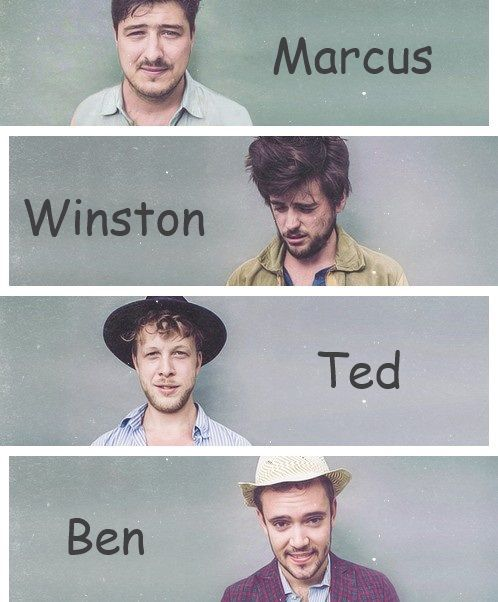 Mumford And Sons - Marcus, Winston, Ted and Ben.