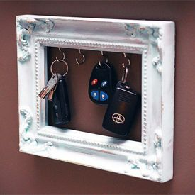 Craft site with tons of ideas. DIY Frame Key Holder