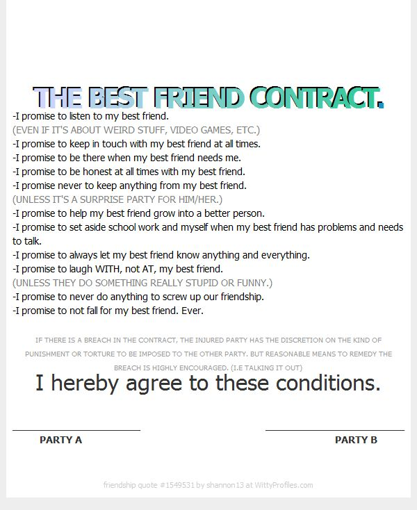 The Best Friend Contract My Best Friend 3 Pinterest Bff