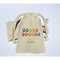 Personalized Cotton Muslin Happy Easter Party Favor Bag - Easter Holiday Favor Bag - Happy Easter gift party bag - Personalized Easter bag