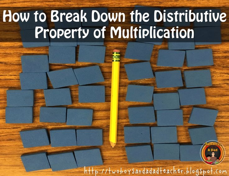 How To Break Down the Distributive Property of Multiplication so that even third graders can understand it!  I use a 2 day lesson to break down the distributive property of multiplication.  I use manipulatives, guided inquiry and direct instruction.  It's important to slow down, break it down so that the concept of breaking apart and adding it back makes sense.  Check out my blog post!