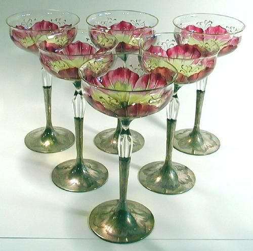 6 Glass Antique Goblets- Moser. I love these, they are unique.