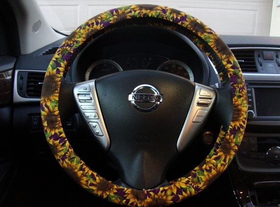 steering wheel cover floral sunflowers yellow and purple car things pinterest floral. Black Bedroom Furniture Sets. Home Design Ideas